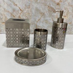 Stainless Steel Basketweave 4 pc Bath Set AVANTI